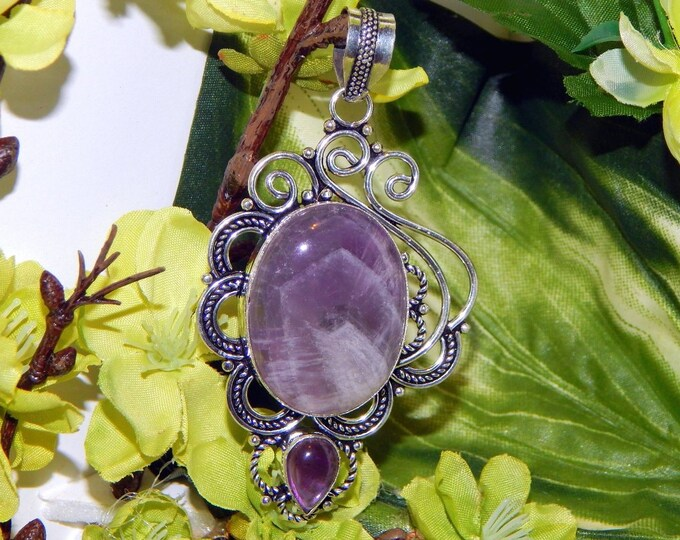 DUO Sylph and Pegasus inspired vessel - Handcrafted Dream Amethyst pendant necklace