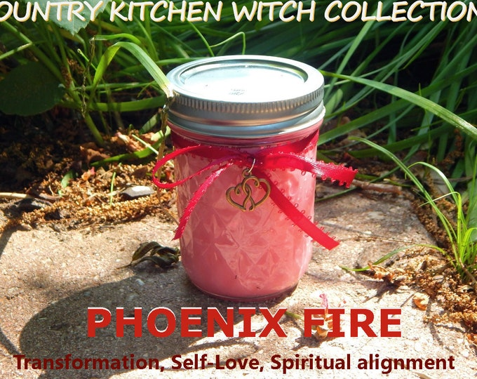 PHOENIX FIRE jar candle prayer candle TRANSFORMATION, Self-Love, Alignment - Fixed & dressed - 100% Hand-crafted with soy wax, herbs and oil