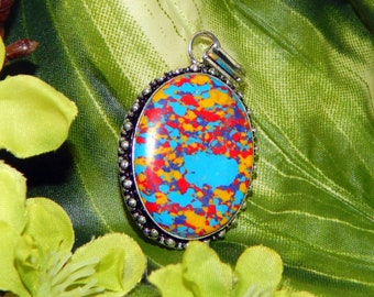 DUO Mystical Pegasus pair inspired vessel - Handcrafted Mosaic Jasper pendant with chain