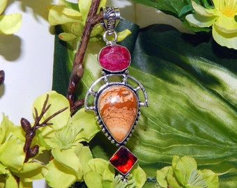 MYSTICAL male Faun inspired vessel - Handcrafted Jasper Ruby pendant necklace
