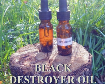 BLACK DESTROYER OIL 15ml - Remove negativity repel evil ultra protection for candles altar anointing - handmade with essential oils & herbs