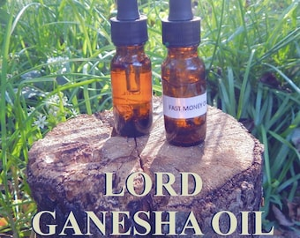 LORD GANESHA OIL 15ml - remove obstacles, success, prosperity, wisdom for candles altar anointing - handmade with essential oils & herbs