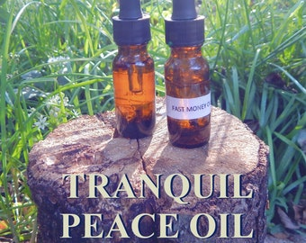 TRANQUIL PEACE OIL 15ml - Peace, harmony, meditation for candles altar anointing - handmade with essential oils & herbs