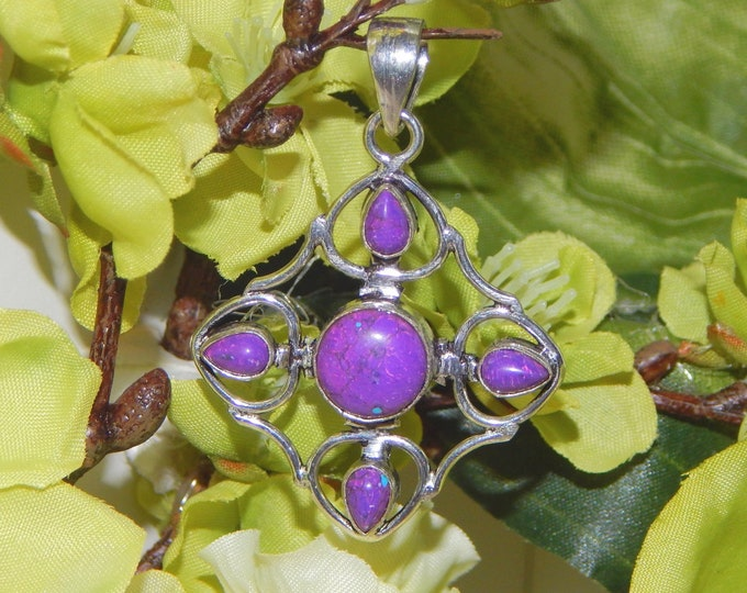 Peaceful Archangel inspired vessel - Handcrafted Purple Turquoise pendant necklace
