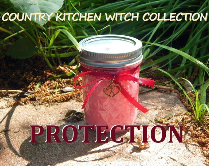 PROTECTION ritual jar candle prayer candle for protection - Fixed & dressed - 100% Hand-crafted with soy wax, herbs and oils