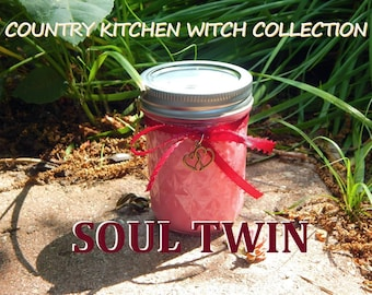 SOUL TWIN ritual jar candle prayer candle for Soulmates - Fixed & dressed - 100% Hand-crafted with soy wax, herbs and oils
