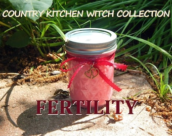 FERTILITY ritual jar candle prayer candle for conception - Fixed & dressed - 100% Hand-crafted with soy wax, herbs and oils