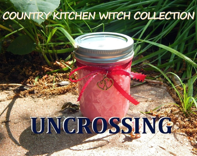 UNCROSSING ritual jar candle prayer candle for removing negativity - Fixed & dressed - 100% Hand-crafted with soy wax, herbs and oils