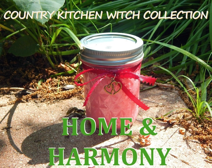 HARMONY ritual jar candle prayer candle for Tranquil home - Fixed & dressed - 100% Hand-crafted with soy wax, herbs and oils