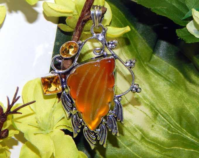 PROTECTIVE male Were-Dragon inspired vessel - Handcrafted Carved Fire Agate Golden Topaz pendant necklace
