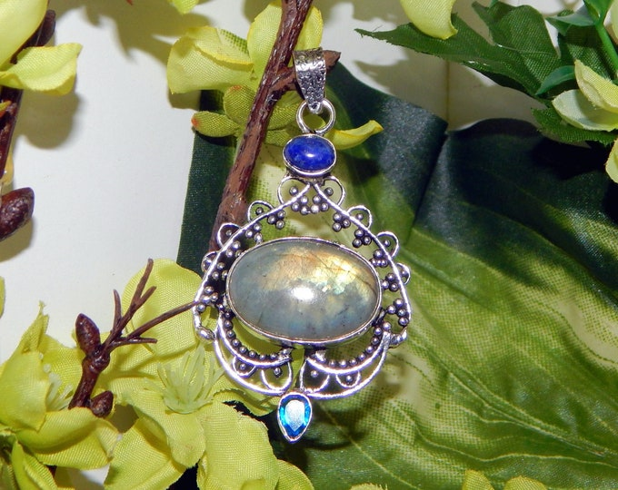 CHARMING Male Encantado dolphin shifter inspired vessel - Handcrafted Labradorite Lapis necklace