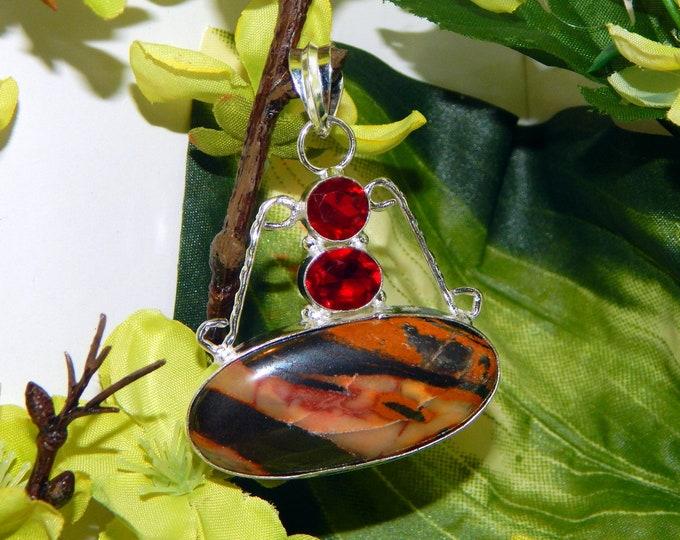 Romanian Sanguine Vampire inspired vessel - Handcrafted Mookaite Garnet pendant necklace