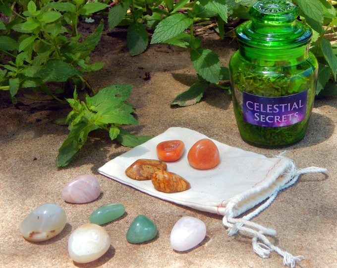 HEALTHY RELAX Bath Tea SET with 10 piece crystal grid - Hand-crafted with organic herbs included reusable cheesecloth bag