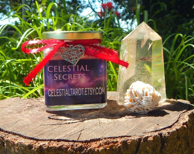 CRYSTAL PRIZE Ritual Jar Candle, Prayer candle with genuine crystal - Any Intent - 100% Hand-crafted with soy wax, herbs and oils