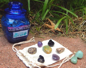 SPIRITUAL CLEANSING Bath Soak SET with 9 piece crystal grid - Hand-crafted with organic herbs included reusable cheesecloth bag