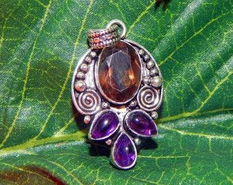 DEVA Devata of HECATE inspired vessel - Handcrafted Amethyst Smoky Quartz pendant necklace
