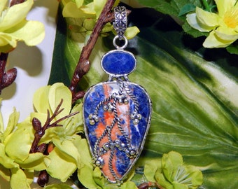 WHITE Wolf-Elf shifter inspired vessel - Handcrafted Sodalite Sapphire pendant necklace