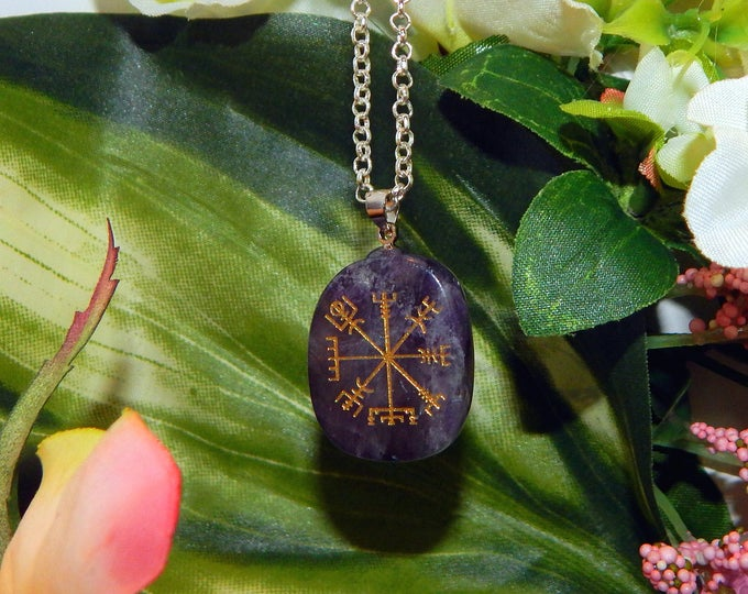 VIKING Vegvísir Heathen AMETHYST Necklace Talisman - Charm necklace includes silver link chain