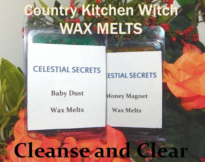 Cleanse & Clear INTENTION WAX MELT, charged wax tart 6 piece - 100% Hand-crafted with herbs and essential oils - Pagan Wicca Witchcraft