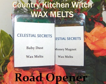 Road Opener INTENTION WAX MELT, charged wax tart 6 piece - 100% Hand-crafted with herbs and essential oils - Pagan Wicca Witchcraft