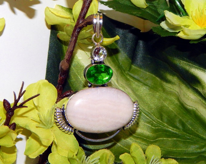 DUO Light Elf pair inspired vessel - Handcrafted Pink Opal and Peridot pendant necklace