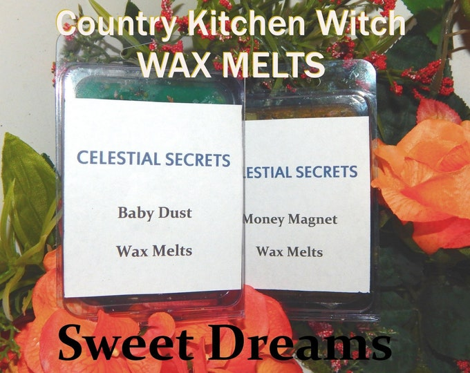 Sweet Dreams INTENTION WAX MELT, charged wax tart 6 piece - 100% Hand-crafted with herbs and essential oils - Pagan Wicca Witchcraft