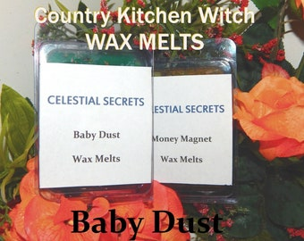 Baby Dust INTENTION WAX MELT, charged wax tart 6 piece - 100% Hand-crafted with herbs and essential oils - Pagan Wicca Witchcraft