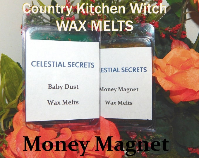 Money Magnet INTENTION WAX MELT, charged wax tart 6 piece - 100% Hand-crafted with herbs and essential oils - Pagan Wicca Witchcraft