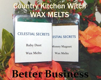 Better Business INTENTION WAX MELT, charged wax tart 6 piece - 100% Hand-crafted with herbs and essential oils - Pagan Wicca Witchcraft