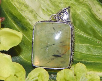 DUO High Elf & Brass Dragon inspired vessel - Handcrafted Prehnite Epidote pendant necklace