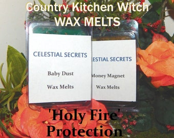 Holy Fire Protection INTENTION WAX MELT, charged wax tart 6 piece - 100% Hand-crafted with herbs and essential oils - Pagan Wicca Witchcraft