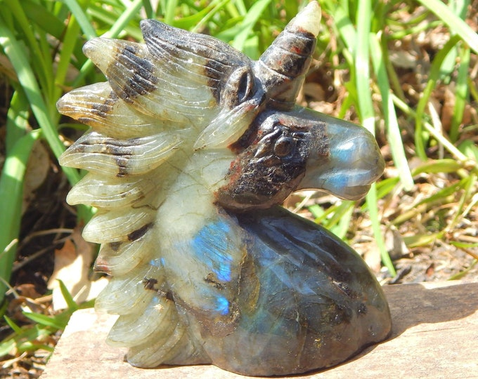 LARGE UNICORN Labradorite carved bust self standing natural gemstone  - Reiki Wicca Pagan Geology gemstone spirit animal