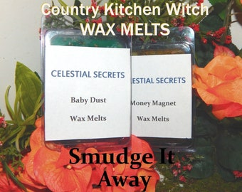 Smudge It Away INTENTION WAX MELT, charged wax tart 6 piece - 100% Hand-crafted with herbs and essential oils - Pagan Wicca Witchcraft