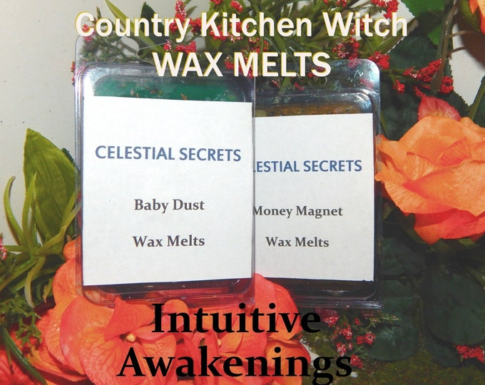 Intuitive Awakenings INTENTION WAX MELT, charged wax tart 6 piece - 100% Hand-crafted with herbs and essential oils - Pagan Wicca Witchcraft