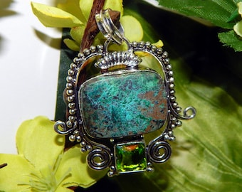 DUO Elemental Dragons inspired vessel - Handcrafted Shattuktite Peridot pendant necklace