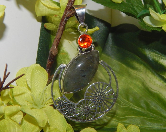 Grigori Commander inspired vessel - Handcrafted Labradorite Garnet pendant necklace