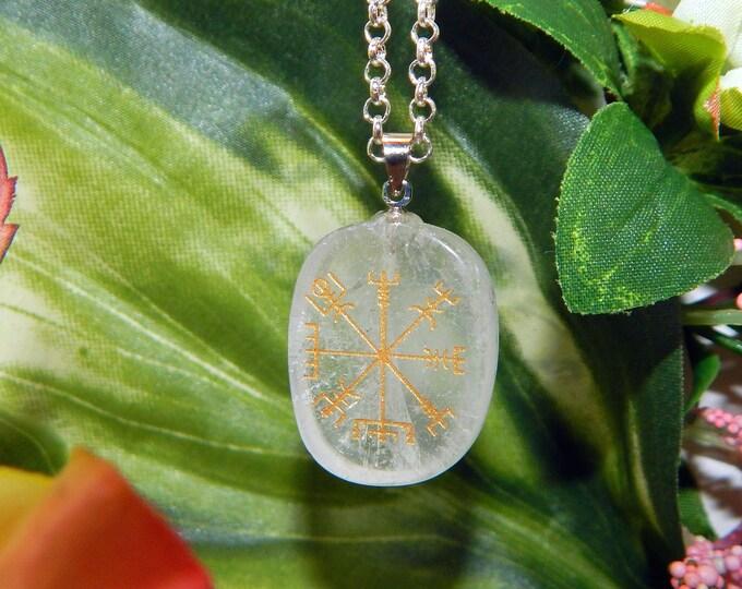 VIKING Vegvísir Heathen QUARTZ Necklace Talisman - Charm necklace includes silver link chain