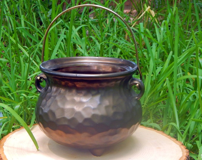 6.4' CAULDRON vintage ceramic fire bowl with handle dappled 'hammered bronze' finish - Wiccan Wicca Pagan Energy-work Tool