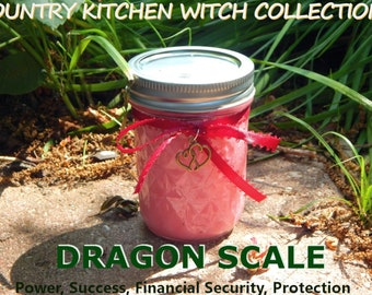 DRAGON SCALE jar candle prayer candle SUCCESS, Power, Protection, Riches - Fixed & dressed - 100% Hand-crafted with soy wax, herbs and oil