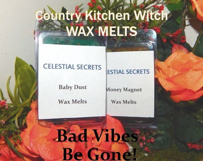 Bad Vibes be gone! INTENTION WAX MELT, charged wax tart 6 piece - 100% Hand-crafted with herbs and essential oils - Pagan Wicca Witchcraft