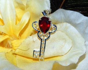 SALE Archangel Uriel Key inspired vessel - Handcrafted Garnet Quartz Key pendant with chain