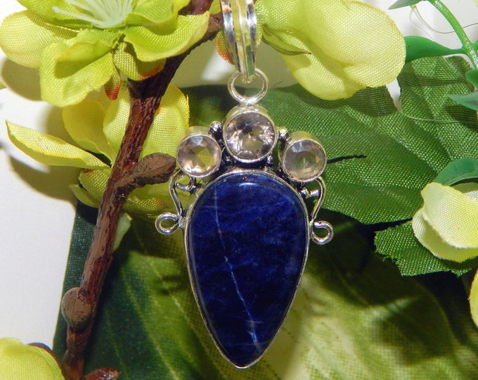 WA MARID Djinni inspired vessel - Handcrafted Sodalite Topaz pendant necklace - Pagan Wiccan Conjure Witchcraft Wicca