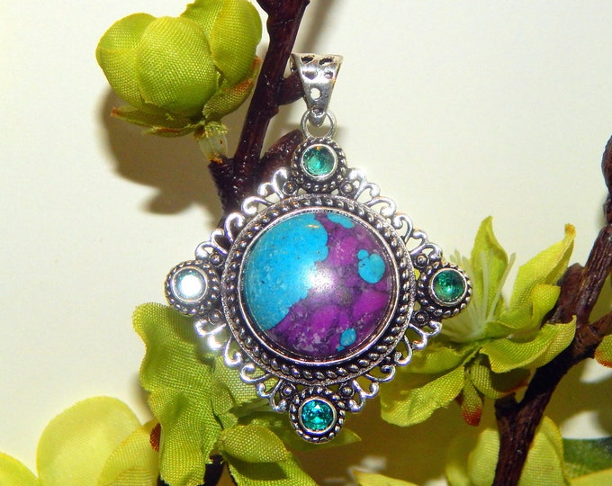 MYSTICAL WA Norse Tiger guardian inspired vessel - Handcrafted Purple Turquoise pendant necklace - Wiccan Pagan spirit vessel