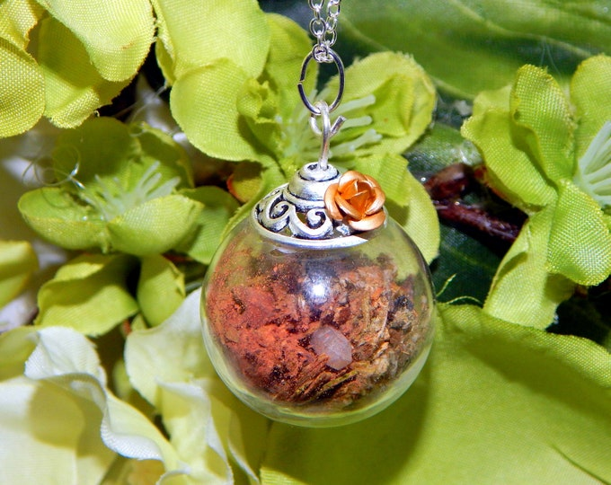 """WITCH BALL """"spirit animal connection"""" Pendant - Glass charm talisman with herbs and stones- includes sterling silver link chain"""