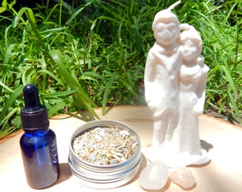 MARRY ME complete KIT - includes figural candle, Herbal incense blend, Matrimony oil, crystals, instructions