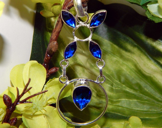 DUO Mystical Elf Pegasus pair inspired vessel - Handcrafted Swiss blue Topaz pendant with chain