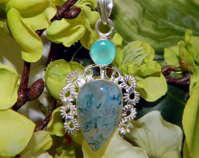 ENCHANTING Atlantian Merman inspired vessel - Handcrafted Moss Agate Chalcedony pendant necklace