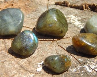 TUMBLED Labradorite gemstone - hand-picked natural stone - Reiki Wicca Pagan Energy-work Tool