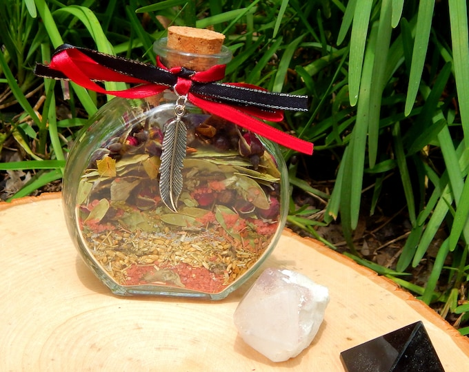 MORRIGAN Goddess BOTTLE complete kit - includes charged bottle with stones & herbs, candles, petition, instructions Witch made Hand-crafted