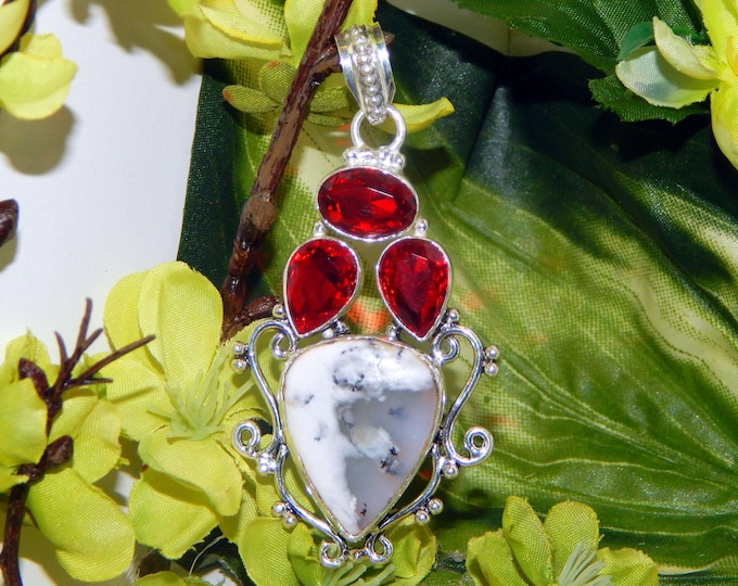 STUNNING Angelic Alya inspired vessel - Handcrafted Dendritic Agate Garnet pendant necklace - Pagan Conjure Witchcraft Wiccan Talisman